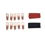 10 PCS AWG T2 Copper Heavy-duty Cold-pressed Wire Terminals 4 x 5/16 with Heat Shrinkable Tube