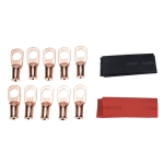 10 PCS AWG T2 Copper Heavy-duty Cold-pressed Wire Terminals 6 x 3/8 with Heat Shrinkable Tube