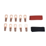 10 PCS AWG T2 Copper Heavy-duty Cold-pressed Wire Terminals 6 x 5/16 with Heat Shrinkable Tube