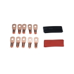 10 PCS AWG T2 Copper Heavy-duty Cold-pressed Wire Terminals 6 x 1/4 with Heat Shrinkable Tube