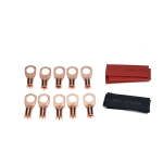 10 PCS AWG T2 Copper Heavy-duty Cold-pressed Wire Terminals 8 x 3/8 with Heat Shrinkable Tube