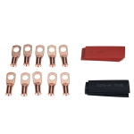 10 PCS AWG T2 Copper Heavy-duty Cold-pressed Wire Terminals 8 x 5/16 with Heat Shrinkable Tube