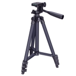 3120 Live Broadcast Tripod 4-Section Folding Legs Aluminum Alloy Tripod Mount with U-Shape Three-Dimensional Tripod Head for DSLR & Digital Camera, Adjustable Height: 34-103cm (Black)