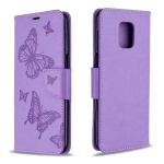 For Xiaomi Redmi Note 9 / Note 9S / Note 9 Pro Two Butterflies Embossing Pattern Horizontal Flip Leather Case with Holder & Card Slot & Wallet & Lanyard(Purple)