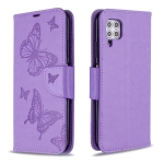 For Huawei P40 Lite Two Butterflies Embossing Pattern Horizontal Flip Leather Case with Holder & Card Slot & Wallet & Lanyard(Purple)