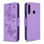 For Huawei P40 Lite E / Y7P Two Butterflies Embossing Pattern Horizontal Flip Leather Case with Holder & Card Slot & Wallet & Lanyard(Purple)