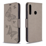 For Huawei P40 Lite E / Y7P Two Butterflies Embossing Pattern Horizontal Flip Leather Case with Holder & Card Slot & Wallet & Lanyard(Grey)