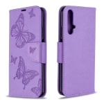 For Huawei Honor 20S Two Butterflies Embossing Pattern Horizontal Flip Leather Case with Holder & Card Slot & Wallet & Lanyard(Purple)