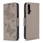 For Huawei Honor 20S Two Butterflies Embossing Pattern Horizontal Flip Leather Case with Holder & Card Slot & Wallet & Lanyard(Grey)