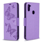 For Galaxy A11 Two Butterflies Embossing Pattern Horizontal Flip Leather Case with Holder & Card Slot & Wallet & Lanyard(Purple)