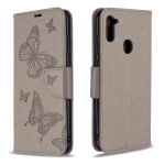 For Galaxy A11 Two Butterflies Embossing Pattern Horizontal Flip Leather Case with Holder & Card Slot & Wallet & Lanyard(Grey)