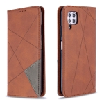 For Huawei P40 Lite Rhombus Texture Horizontal Flip Magnetic Leather Case with Holder & Card Slots & Wallet(Brown)