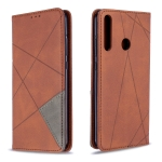 For Huawei P40 Lite E / Y7P Rhombus Texture Horizontal Flip Magnetic Leather Case with Holder & Card Slots & Wallet(Brown)