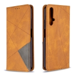 For Huawei Honor 20S Rhombus Texture Horizontal Flip Magnetic Leather Case with Holder & Card Slots & Wallet(Yellow)