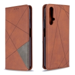 For Huawei Honor 20S Rhombus Texture Horizontal Flip Magnetic Leather Case with Holder & Card Slots & Wallet(Brown)