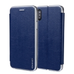 For iPhone  XS / X CMai2 Linglong Series PC+PU Horizontal Flip Leather Case with Holder & Card Slot(Royal Blue)