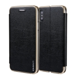 For iPhone  XS / X CMai2 Linglong Series PC+PU Horizontal Flip Leather Case with Holder & Card Slot(Black)