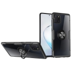 For Galaxy A81 Shockproof Transparent TPU + Acrylic Protective Case with Ring Holder(Black)