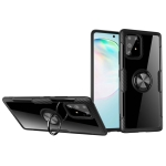 For Galaxy A91 Shockproof Transparent TPU + Acrylic Protective Case with Ring Holder(Black)