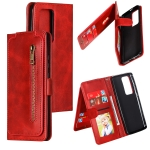 For Huawei P40 Pro Nine Card Zipper Bag Horizontal Flip Leather Case With Holder & Card Slots & Photo Frame & Wallet(Red)