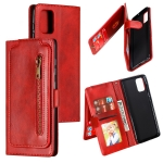 For Galaxy A71 Nine Card Zipper Bag Horizontal Flip Leather Case With Holder & Card Slots & Photo Frame & Wallet(Red)