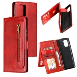 For Galaxy A91 Nine Card Zipper Bag Horizontal Flip Leather Case With Holder & Card Slots & Photo Frame & Wallet(Red)
