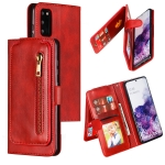 For Galaxy S20 Nine Card Zipper Bag Horizontal Flip Leather Case With Holder & Card Slots & Photo Frame & Wallet(Red)