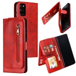 For Galaxy S20+ Nine Card Zipper Bag Horizontal Flip Leather Case With Holder & Card Slots & Photo Frame & Wallet(Red)