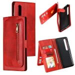 For Xiaomi Mi 10 Pro Nine Card Zipper Bag Horizontal Flip Leather Case With Holder & Card Slots & Photo Frame & Wallet(Red)