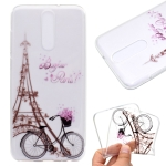 For OnePlus 8 Coloured Drawing Pattern Transparent TPU Case(Tower and Bicyle)