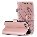 For iPhone SE (2020) Butterflies Embossing Pattern Horizontal Flip Leather Case with Holder & Card Slots & Wallet & Lanyard(Rose Gold)