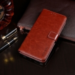 For Galaxy M11 idewei Crazy Horse Texture Horizontal Flip Leather Case with Holder & Card Slots & Wallet(Brown)
