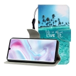 For Galaxy A31 Colored Drawing Horizontal Flip Leather Case with Holder & Card Slot & Wallet(Coconut Tree)