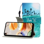 For LG K61 Colored Drawing Horizontal Flip Leather Case with Holder & Card Slot & Wallet(Coconut Tree)