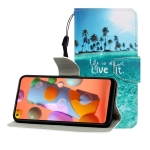 For Huawei P40 Lite E Colored Drawing Horizontal Flip Leather Case with Holder & Card Slot & Wallet(Coconut Tree)