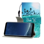 For Galaxy S8 Colored Drawing Horizontal Flip Leather Case with Holder & Card Slot & Wallet(Coconut Tree)