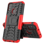 For Galaxy M31 Tire Texture Shockproof TPU+PC Protective Case with Holder(Red)