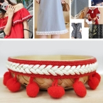 mzf3.5mq National Style Fur Ball Lace Belt DIY Clothing Accessories, Size: 2286 x 3.5cm(Red)