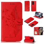 For Huawei P40 Pro+ Litchi Texture Feather Embossing Pattern Horizontal Flip Leather Case with Holder & Card Slots & Wallet & Photo Frame & Lanyard(Red)