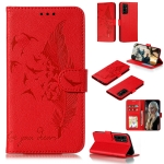 For Huawei Honor 30 Pro Litchi Texture Feather Embossing Pattern Horizontal Flip Leather Case with Holder & Card Slots & Wallet & Photo Frame & Lanyard(Red)
