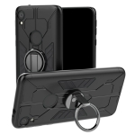 For Motorola Moto E6 Tank Three-stage Splicing Shockproof TPU + PC + Metal Case with Ring Holder(Black)