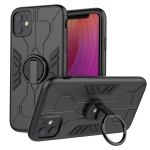 For iPhone 11 Tank Three-stage Splicing Shockproof TPU + PC + Metal Case with Ring Holder(Black)