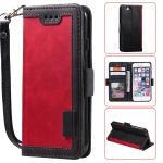 For iPhone 6 Retro Splicing Horizontal Flip Leather Case with Card Slots & Holder & Wallet(Red)