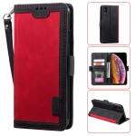 For iPhone X / XS Retro Splicing Horizontal Flip Leather Case with Card Slots & Holder & Wallet(Red)