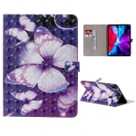 For iPad Pro 11 (2020) 3D Colored Drawing Horizontal Flip Leather Case with Holder & Card Slot & Wallet(Purple Butterfly)