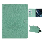 For iPad Pro 12.9 (2020) Pressed Printing Sunflower Pattern Horizontal Flip PU Leather Case with Holder & Card Slots & Wallet(Green)