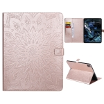 For iPad Pro 12.9 (2020) Pressed Printing Sunflower Pattern Horizontal Flip PU Leather Case with Holder & Card Slots & Wallet(Rose Gold)