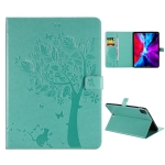 For iPad Pro 12.9 (2020) Pressed Printing Cat and Tree Pattern Horizontal Flip Leather Case with Holder & Card Slots & Wallet(Green)