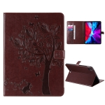 For iPad Pro 12.9 (2020) Pressed Printing Cat and Tree Pattern Horizontal Flip Leather Case with Holder & Card Slots & Wallet(Coffee)