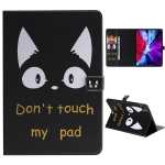 For iPad Pro 12.9 (2020) Colored Drawing Horizontal Flip Leather Case with Holder & Card Slot & Wallet(Cat Ears)